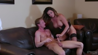 Astonishing blonde Danica Dillon encourages a slab intake her cunt before a fuck