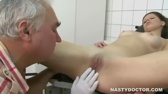 serbian brunette babe fucking an aged health professional