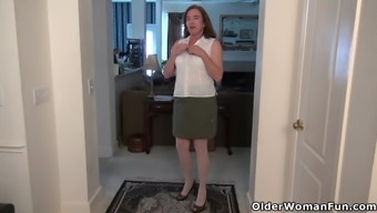 North american gilf Track Gather pleasures her fuzzy pussy
