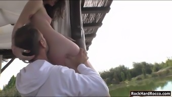 italian teenager misha mix gets her stupid ass boned by rocco outside