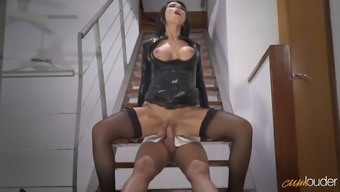 Enjoyable raven haired MILF in horny a leather-based tub chair jacket gets fucked on staircases how challenging