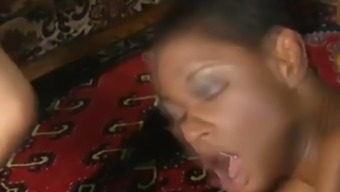 glamorous african-american girl is enrolling in a steamy foursome for a intense value