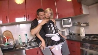 Acquired for the day to clean up this horny maid does not have any difficulty making love accessible on camera