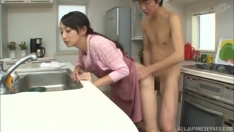 Heated kitchenette love-making appointment with lovely Japanese people damsel Takita Eriko