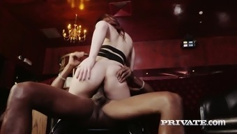 Specialist whore Lucia Like gives her scalp before a clammy interracial sex