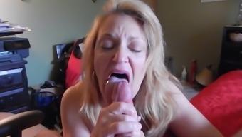 Granny wonderful blow and ingest cum