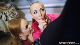 Kayla Orange and Ella Hughes team up and get a threesome in a the kitchen