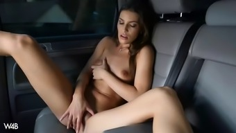 wayward zena little pisses within a cup and toys herself to height within the car