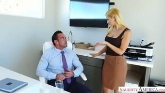 Guffawing wild blond cowgirl along with major titties Sarah Vandella treasures rectum