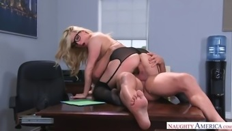 black counter aj applegate assistance boss' cock in his workplace