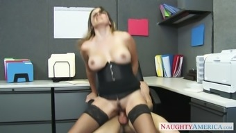 danica dillon trying stockings and corset rides her person-in-charge in the office