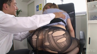 Shredding up her subdue pantyhose while you are fucking the desk