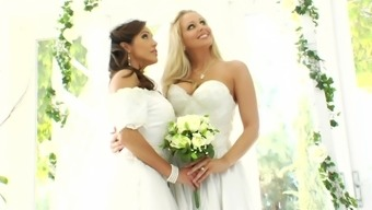 Staggering scene by using a pair of busty lesbian brides-to-be