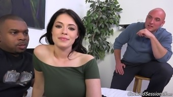 A white wife fucks a black guy whereas her partner watches