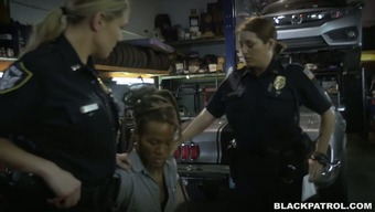 Abandoned and horny cops fuck generous auto technician in threesome