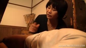Melancholy mature beginner Oriental delivering a sensational finger job then gives a spicy blowjob