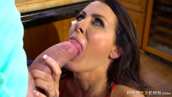 Fascinating Reagan Foxx gives the guy a cowgirl trip with the cooking