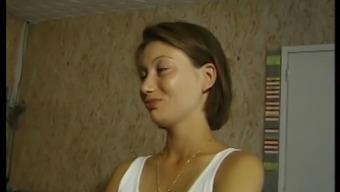 shy french language brunette by using a old one