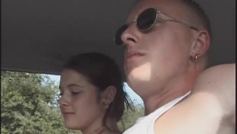 Beautiful chicken Karina sucks her adult man outdoor then gets fucked in the car