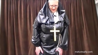 Simply what does a nun dress below her behavior!!!!