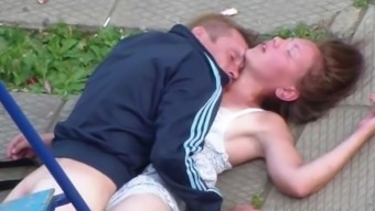 Intoxicated Couple Having Sex in the community Square
