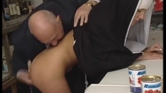 Sizzling Bodied Nun Gets Fondled By Changed Old Man !