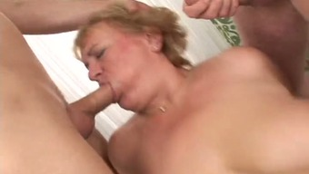 Hardcore gangbang love-making masking tape with a busty blonde granny