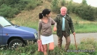 Gorgeous dame seduces grand father on the road