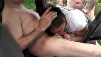 Gentlemen gangbang hot girls in sitting automobile