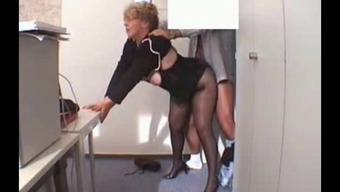 Business office Granny Fucked in stockings