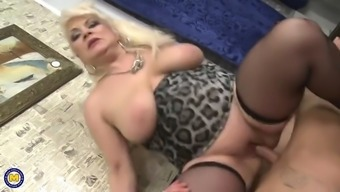 Elegant chunky woman feed and fuck younger boy