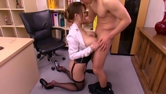 Counter slut along with huge Japanese titties gets laid