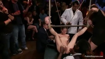 Jessi Palmer gets chained and fucked complicated through a group of persons