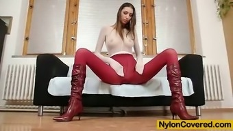 Great Kitty Jane poses in nylon material bodysuit top boots