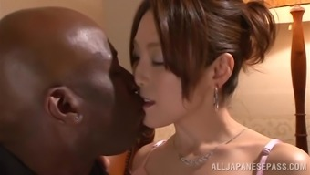 Japanese hussy gets her pussy fingered and torn up by a dark colored bf