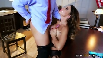 Bosomy black top MILF in sexy stockings pleases ravenous supervisor along with tubby deep nose