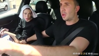Slutty dim haired nun gives steamy deep nostril to really her pal in automobile