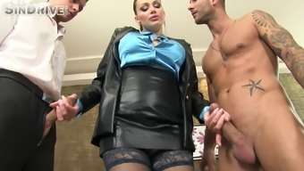 Astonishing MILF by using juicy oiled over tits gets double utilized