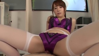 Attractive From asia cater for in purple panties conveniently makes the soreness finally stop