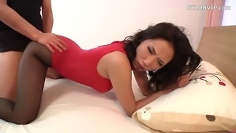Asian slut in scarlet lingerie and pantyhose gets fucked very difficult