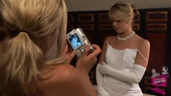 Lena Nicole seduces a stunning bride to be to become within a bridal dress