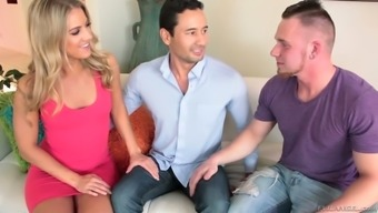 Have a look at superb bisexual MMF threesome with the use of shiny blondie
