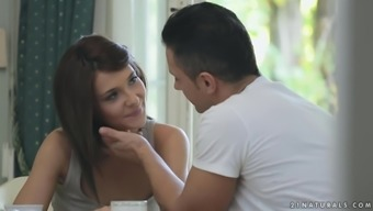 Charming brunette Alexis Brill gets fucked on the kitchenette table