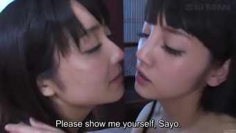 Subtitled JAV lesbian youth Sayo Arimoto and Rei Mizuna