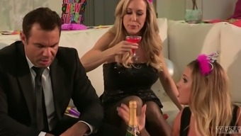 Sultry blonde MILF is having excited lesbian sex at the event