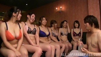 A massive category of Japanese people girls have an orgy along with a bloke