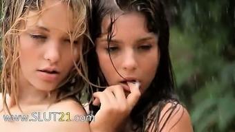 Lovely babysitters in the rain