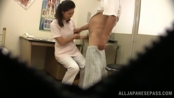 Japanese health professional gives a blowjob to really her sufferer in hidden cam video