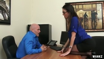 Slutty home Dava Foxx gets fucked in the heart of the hiring managers tables
