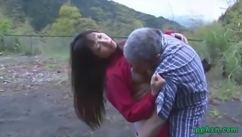 From asia Date Getting Her Pussy Licked And Fucked By Old Adult man Ejaculate To effectively Stupid ass Outdoor At